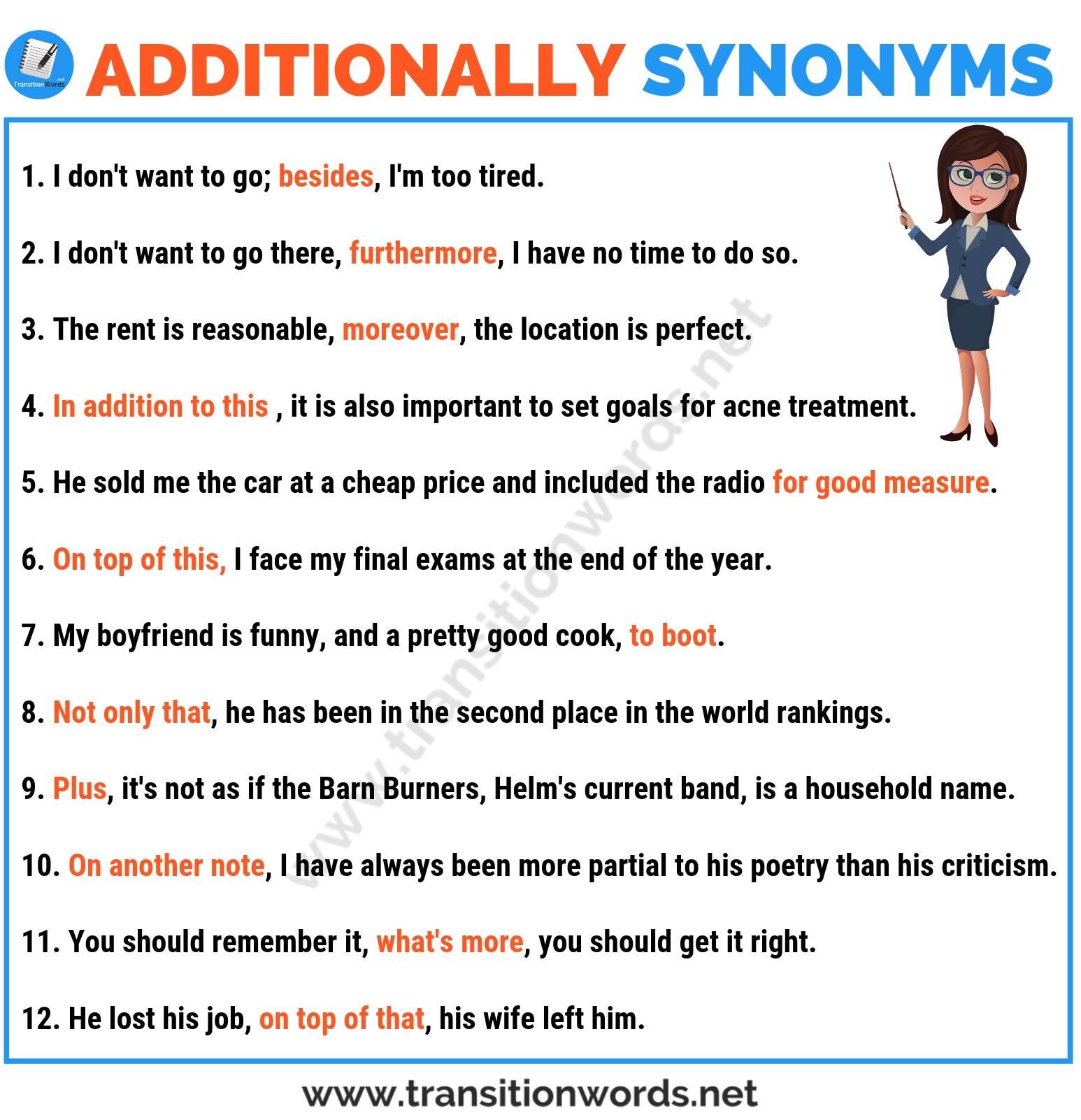Additionally synonym