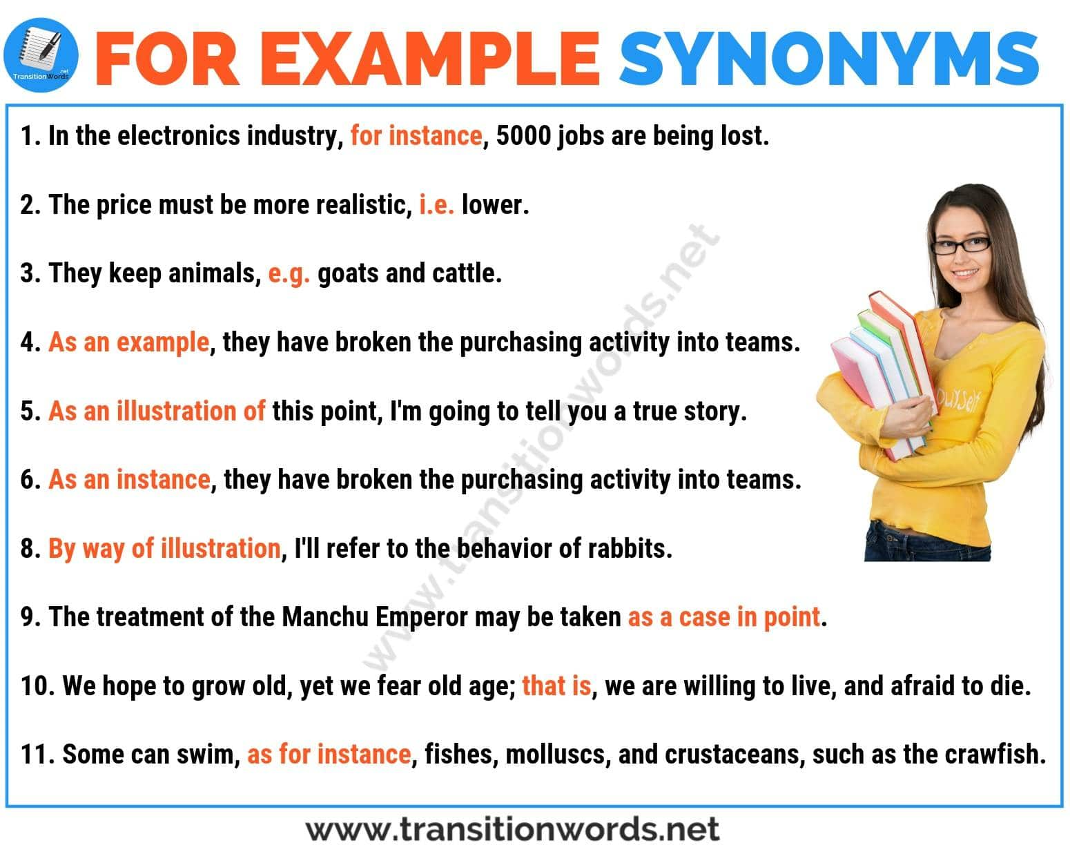 FOR EXAMPLE Synonym: List of 26 Powerful Synonyms for For Example