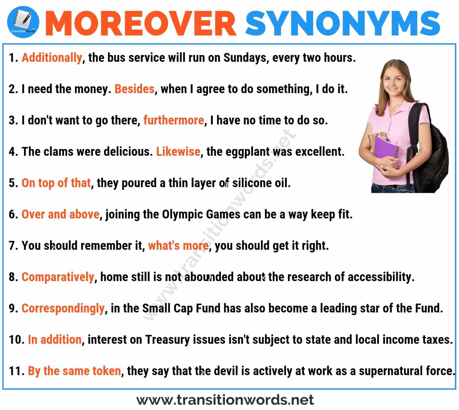 MOREOVER Synonym: List of 20 Useful Synonyms for Moreover with Examples