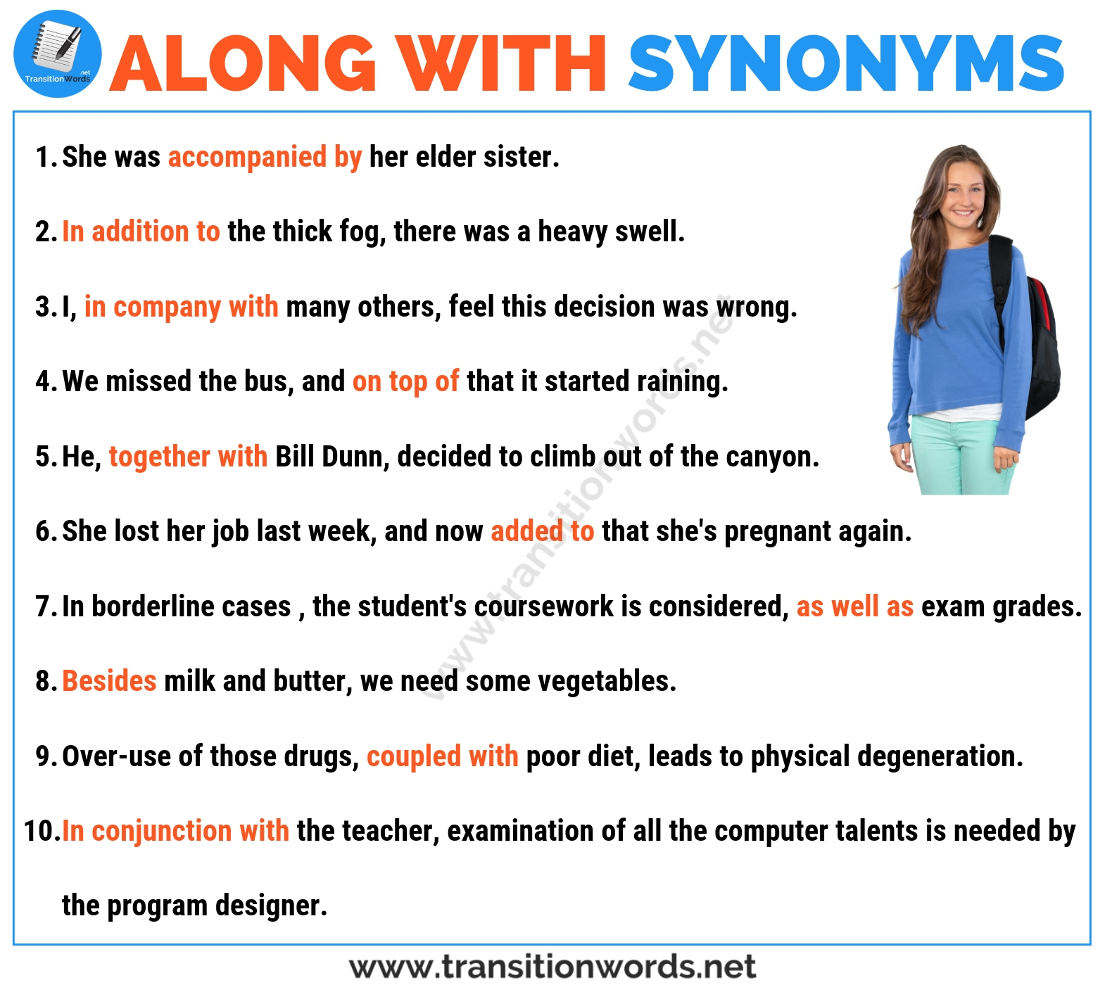 Other Words for ALONG WITH: Useful List of Synonyms for Along with in English