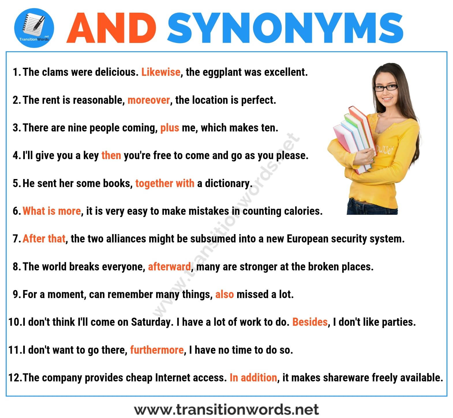 AND Synonym: List of 18 Useful Synonyms for And in English