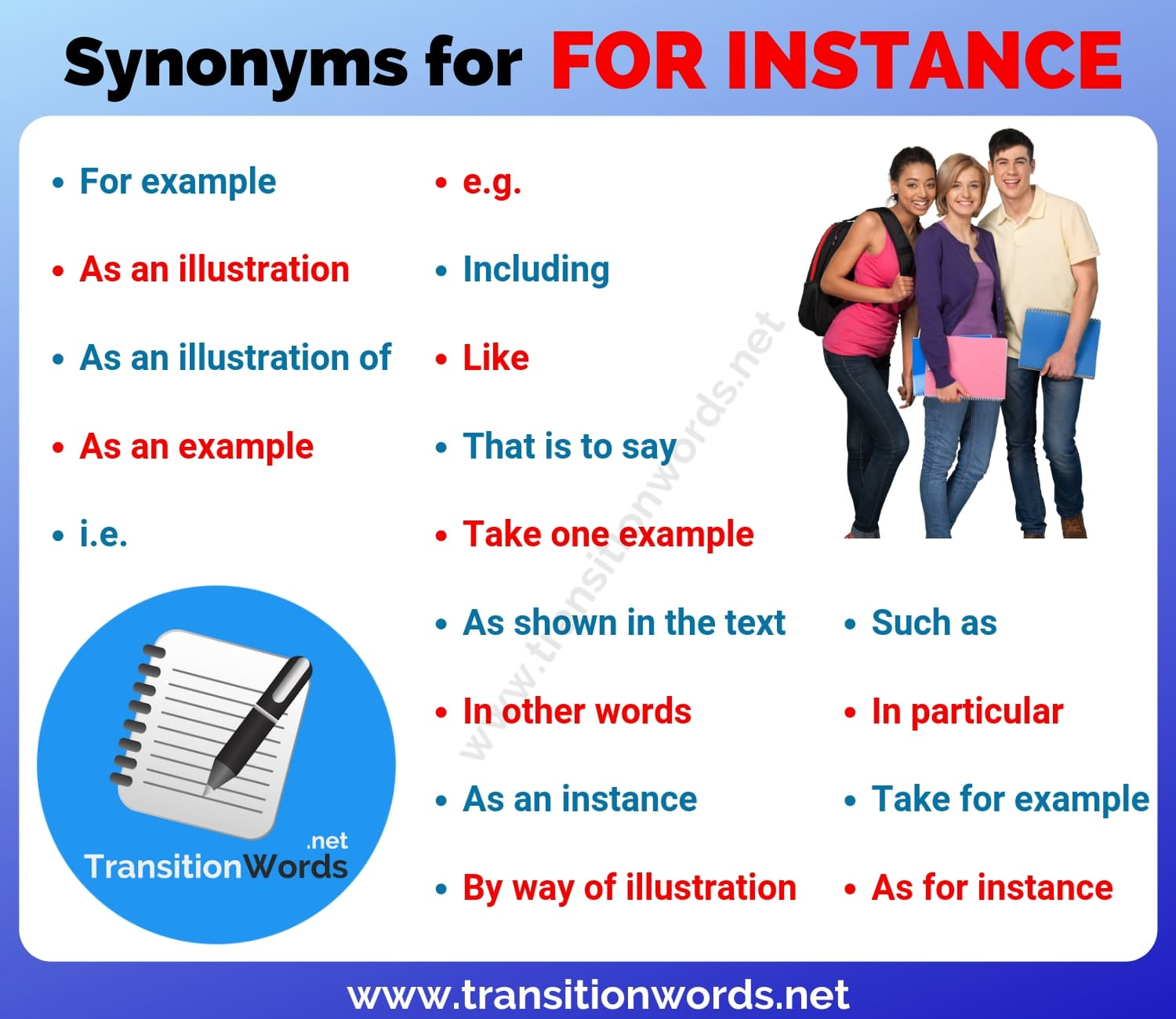 FOR INSTANCE Synonym: 18 Helpful Synonyms for For instance with Examples