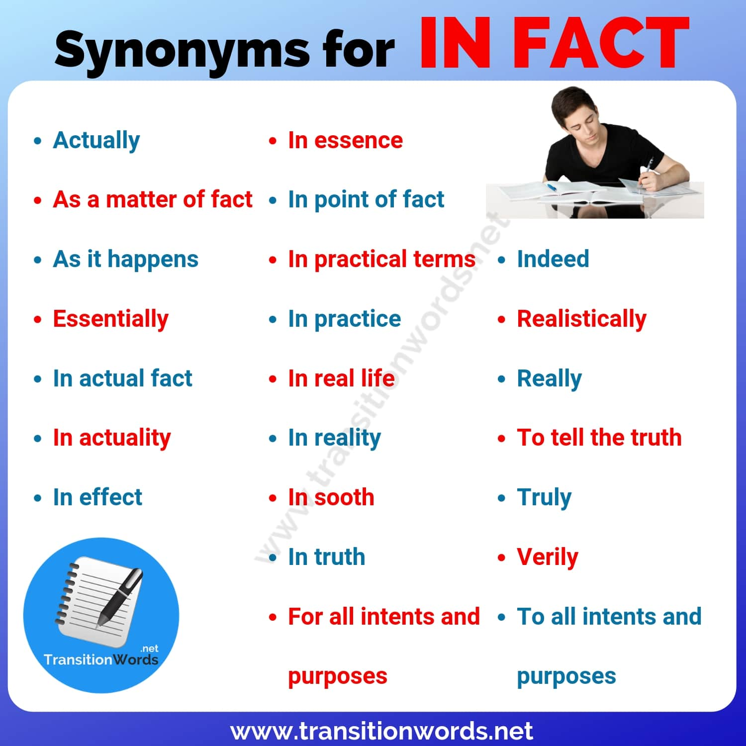 Other Ways to Say IN FACT: 23 Helpful Synonyms for In fact with ESL Pictures