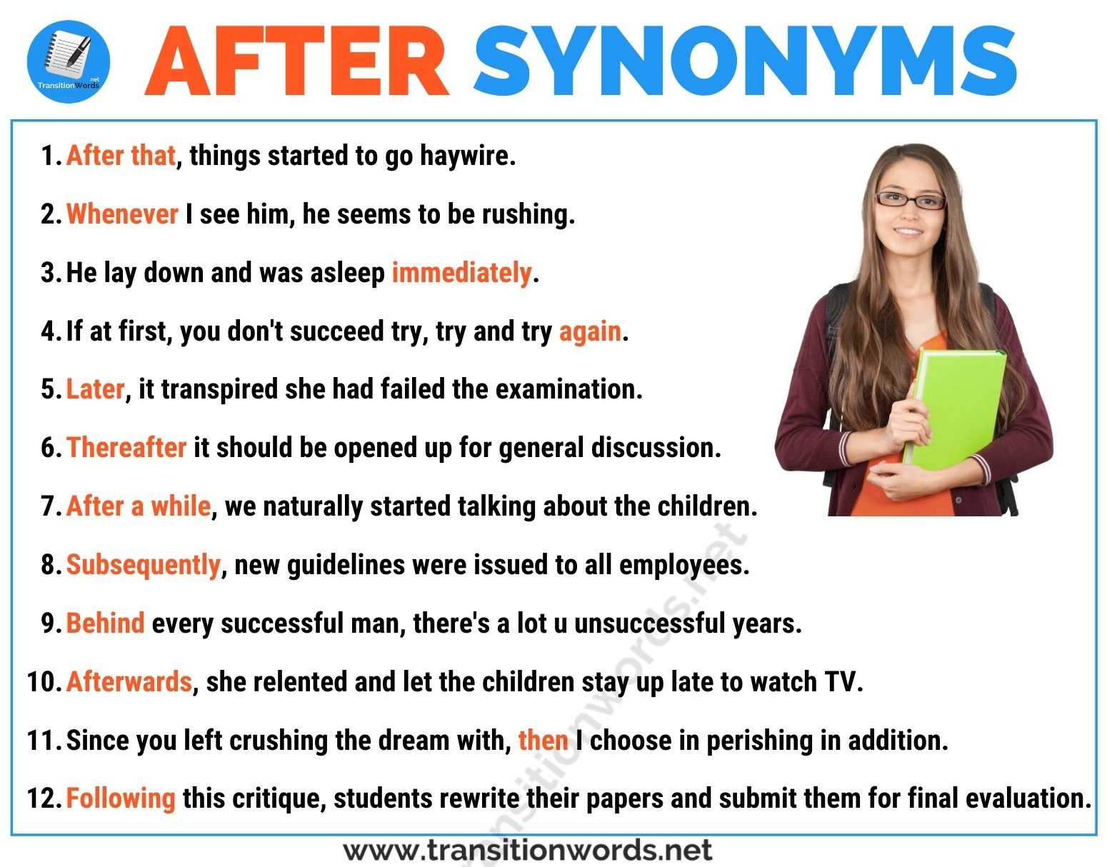 Another Word for AFTER: List of 12 Synonyms for After with Helpful Examples