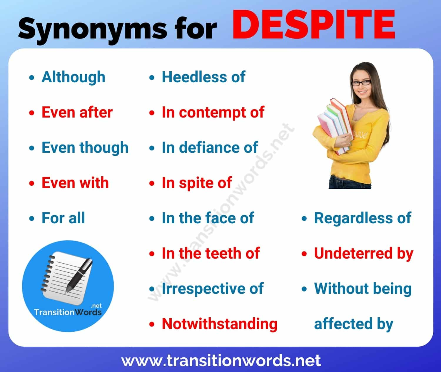 Another Word for DESPITE: List of 16 Synonyms for Despite with Useful Examples