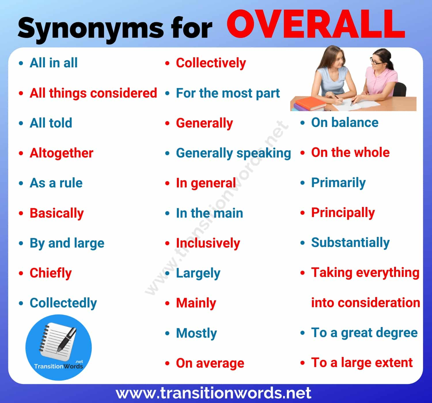 Another Word for OVERALL: List of 28 Useful Synonym for Overall with Examples