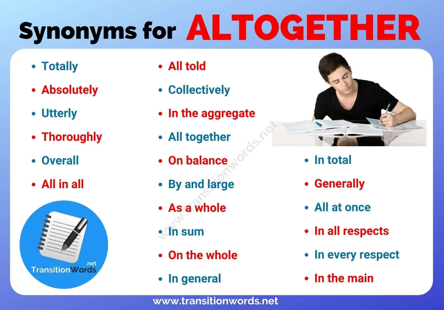 Other Ways to Say Altogether: List of 20+ Synonyms for Altogether in English with ESL Pictures