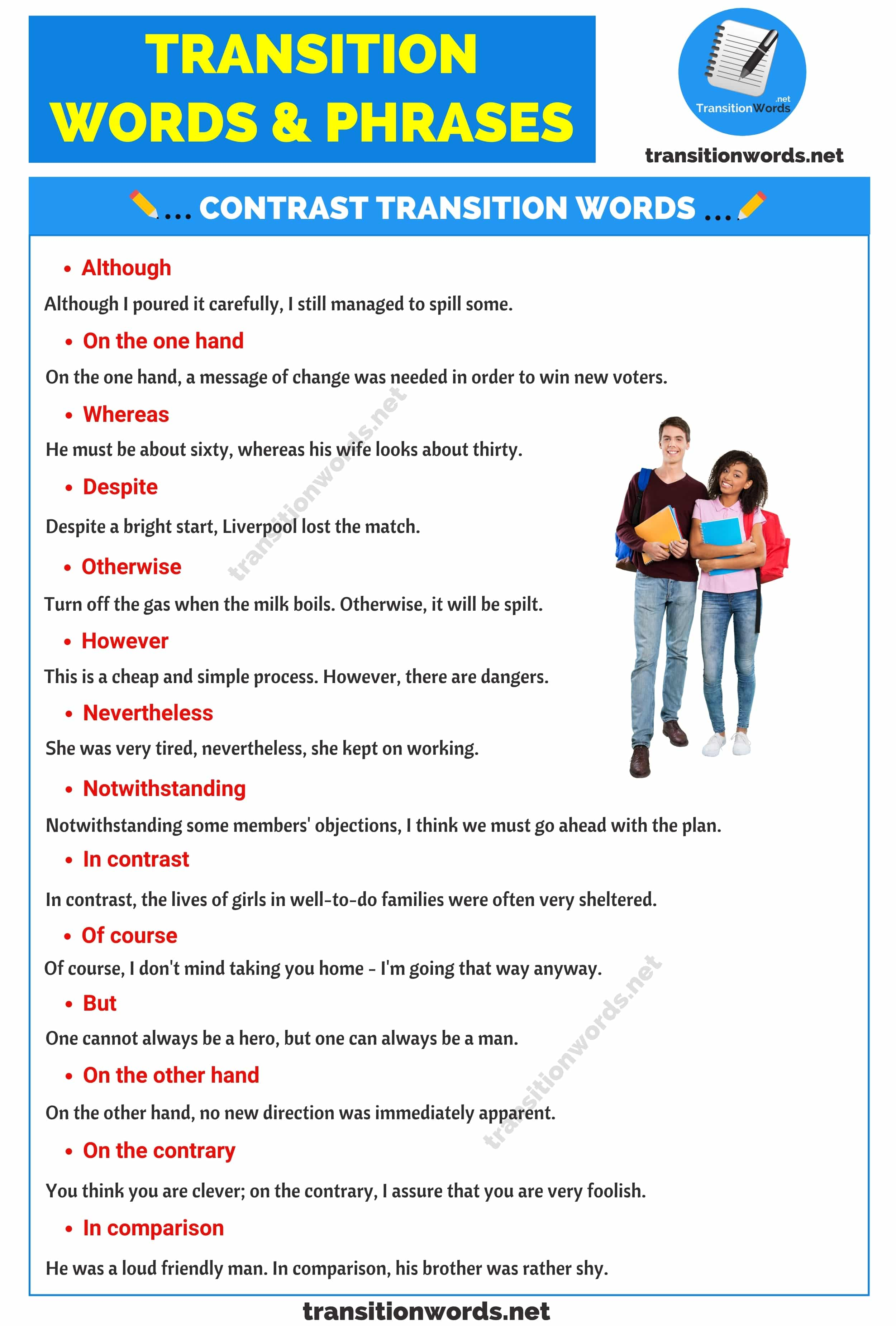 Transition Words & Phrases in English: Different Types, Useful Lists with Example Sentences