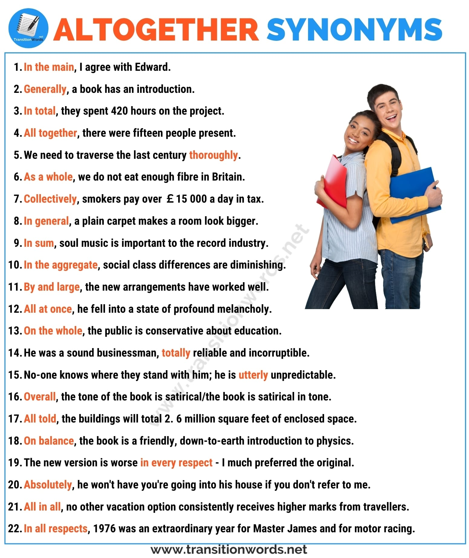 Altogether Synonym: List of 20+ Synonyms for Altogether in English with ESL Pictures