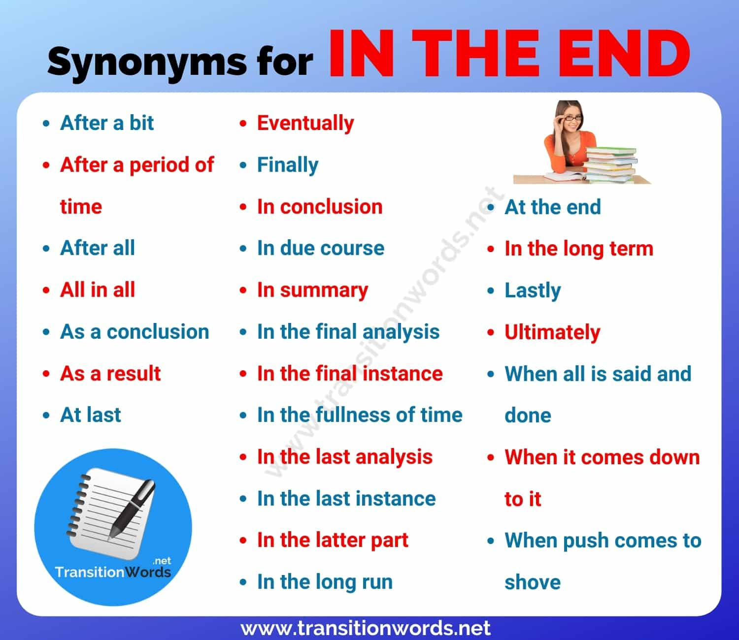 Another Word for In The End: List of 25+ Synonyms for In the end with Useful Example Sentences