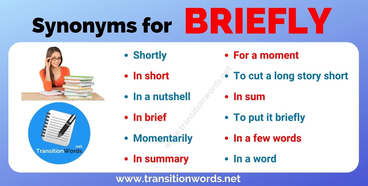 Briefly Synonym: List of 12 Synonyms for Briefly in English with Useful Examples