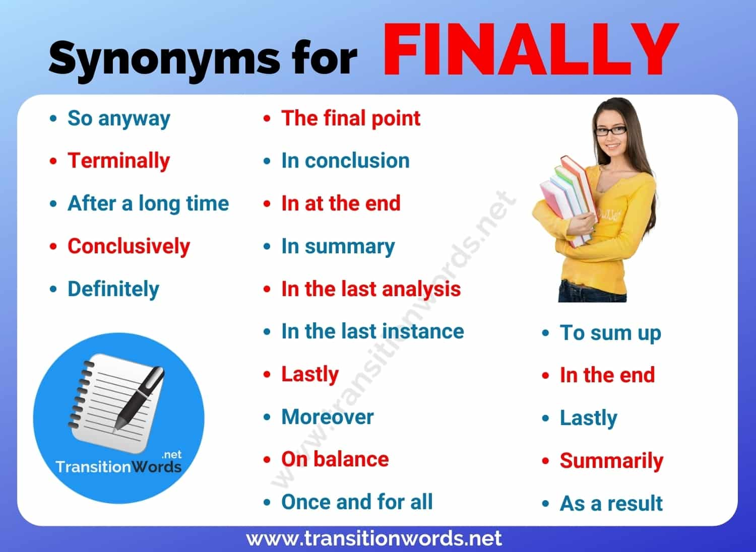 Finally Synonym: List of 20 Synonyms for Finally with Useful Examples