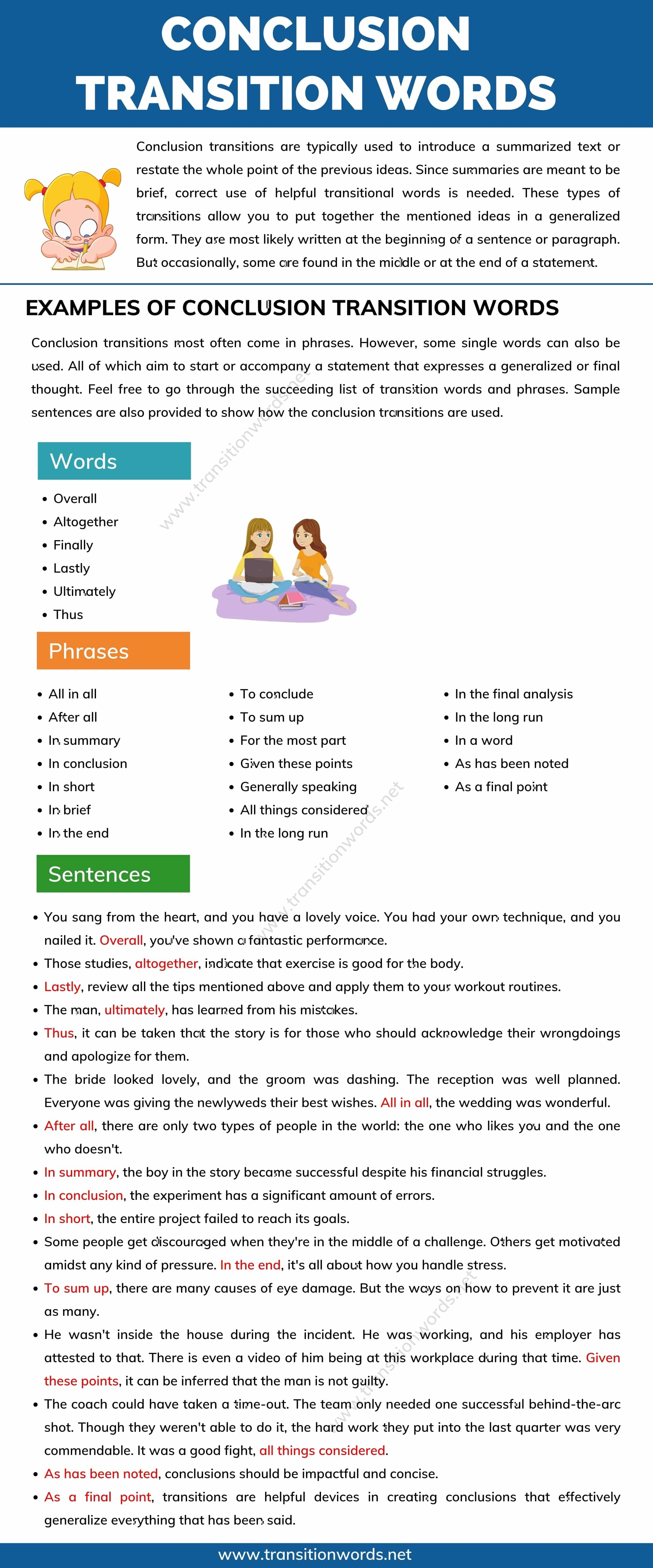 Conclusion Transition Words: Definition and Useful Examples